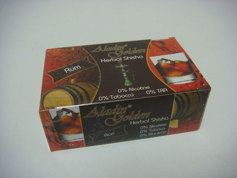 Aladin Golden Shisha (sin nicotina) para Cachimba 10 x 50g Sabor Ron-Rum ó Variado.