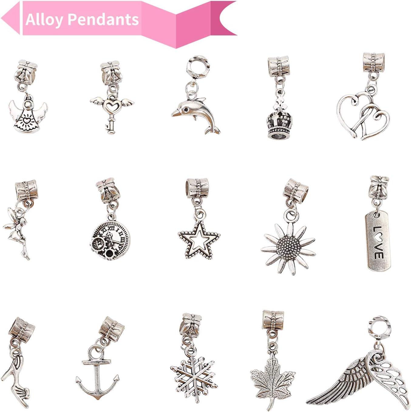 Creation Cadeau Bijoux Cha/înes Bricolage pour Filles Ados Ulikey 3 Pi/èces Bracelet Argent Enfant Fille Kit Fabrication Bracelet Breloque avec Coffret De Perles