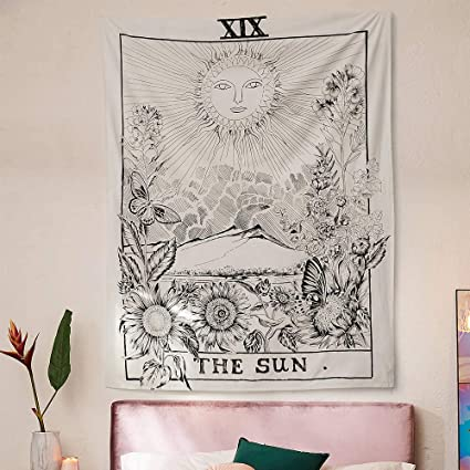 6346730b41 Muses Boutique Tarot Star Tapestry Black and White Wall Hanging Bohemian  Hippie Ethnic Wall Art Boho