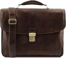 Tuscany Leather Alessandria Cartella Porta notebook TL SMART multiscomparto  in pelle Testa di Moro 743a24d2424