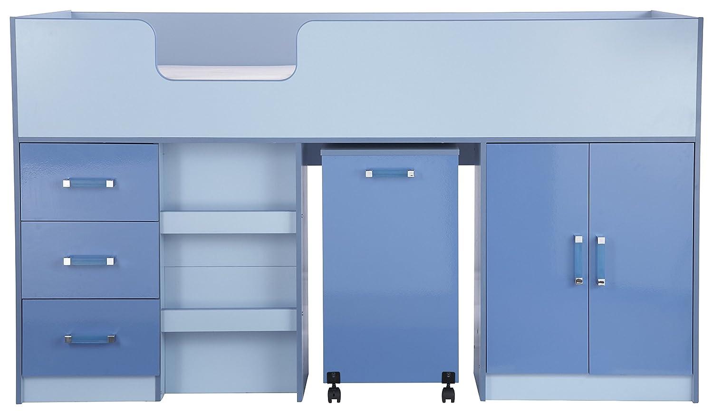 Hochbett mit Speicher in blau