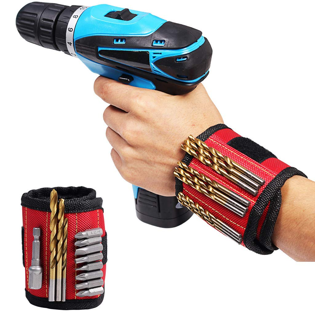 Magnetic Wristband with Strong Magnets, Rendodon Wristband Pockets to Hold Screws, Nails, and Plastic Tools. Amazing Helping Hand for Your DIY Projects Best Gift