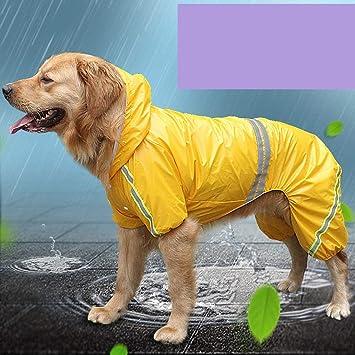 Togames-ES Nueva Mascota Impermeable Golden Retriever Perro Grande Reflectante Impermeable a Prueba de Viento Perro Impermeable Ropa para Mascotas al por ...