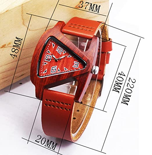 Amazon.com: Fashion Triangle Watches for Women - Arabic Numerals Scale Natural Wood Case Leather Watches for Lady, Red Sandalwood: Watches