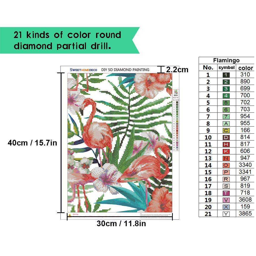 Sweethomedeco DIY 5D Diamond Painting by Number Kits Crystal Rhinestone Diamond Embroidery Paintings Cross Stitch 12 x 15.7 inch,Common Level Full Drill