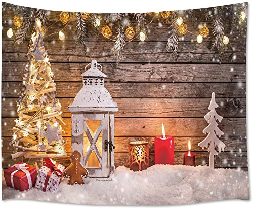 HVEST Merry Christmas Tapestry Snow Tapestries Xmas Ornaments Hanging on Wooden Plank Wall Blanket for Bedroom Living Room Dorm Decor,92.5Wx70.9H inches