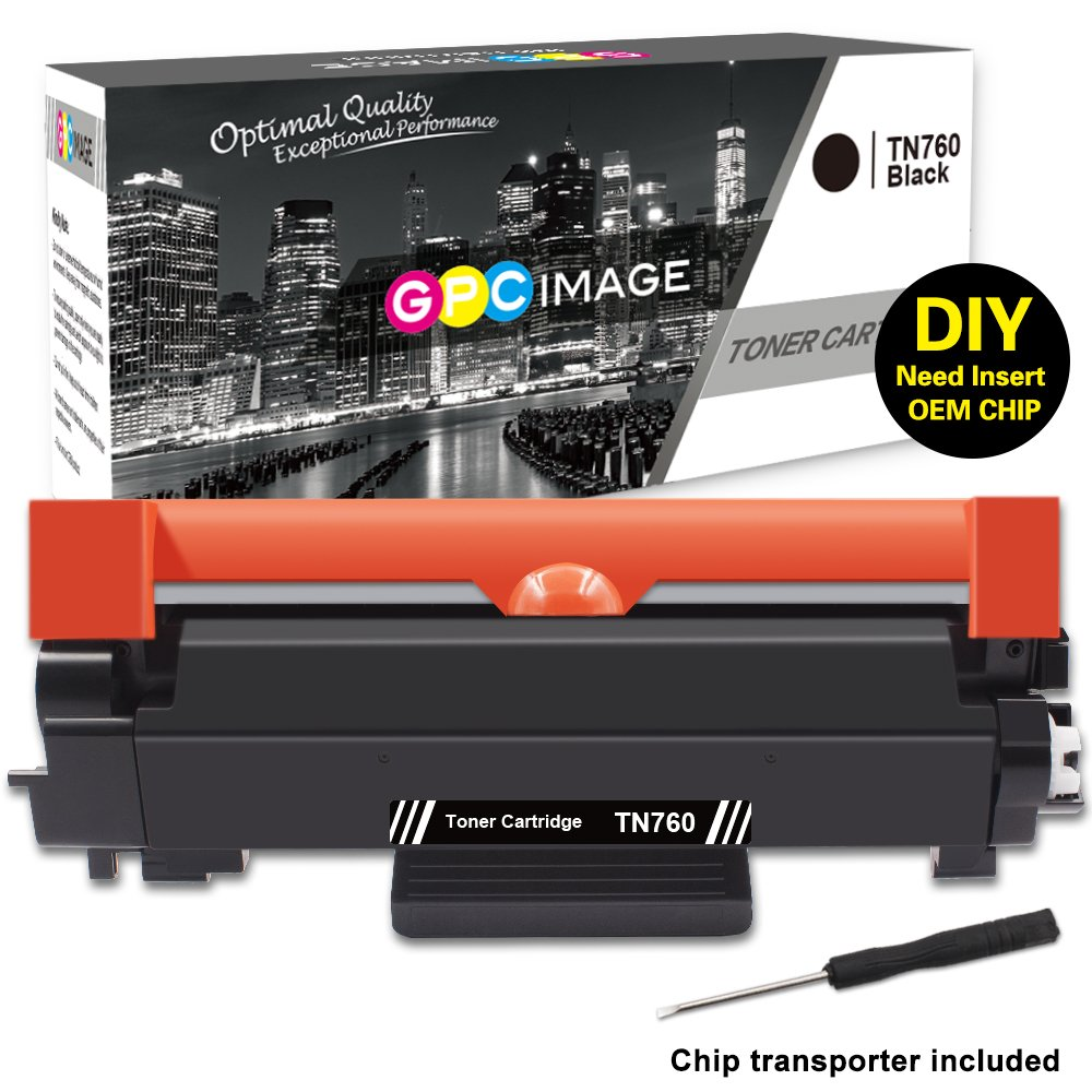 GPC Image 1 Black (NO CHIP) Compatible Toner Cartridge Replacement for Brother TN-760 TN 730 Toner for Brother DCPL2550DW HL L2390DW HL-L2370DW HL-L2395DW MFCL2710DW MFC-L2750DW HL-L2350DW Printer