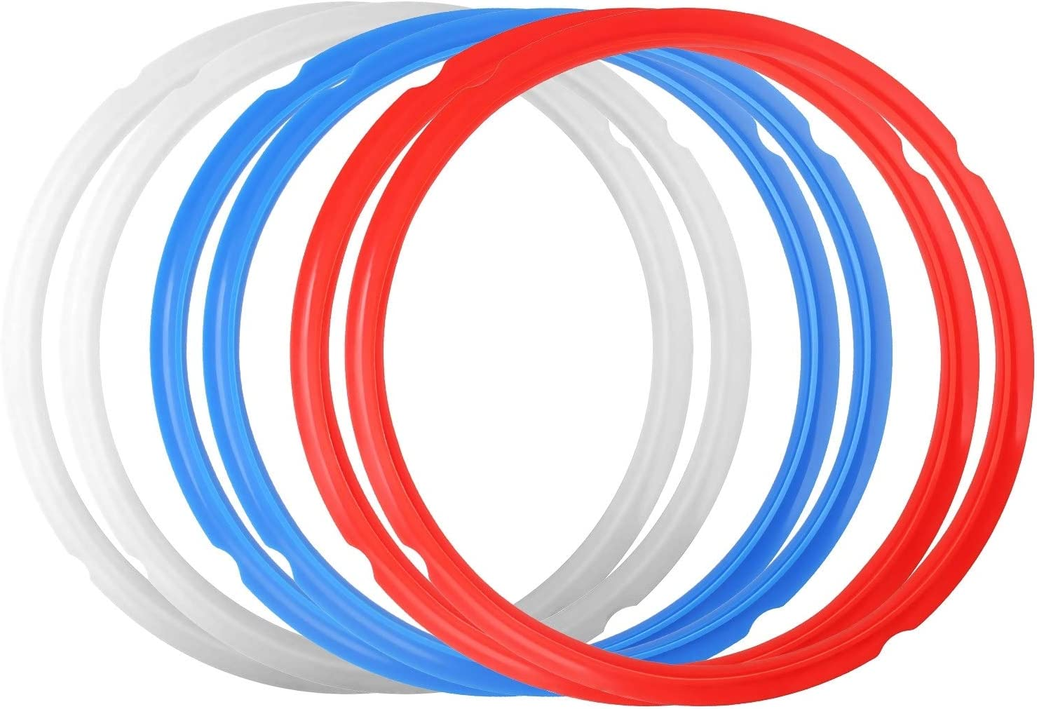 6 Pack Silicone Sealing Rings, Food-Grade Silicone Gasket Accessories 8 Quart Rubber Sealer Replacement for Pressure Cooker and Air Fryer, Blue Red and Clear