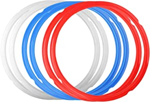 Silicone Sealing Rings for Instant Pot Accessories, 6 pack Food-Grade Silicone Gasket Accessories 6 Quart Rubber Sealer Replacement for Pressure Cooker and Air Fryer, Blue Red and Clear