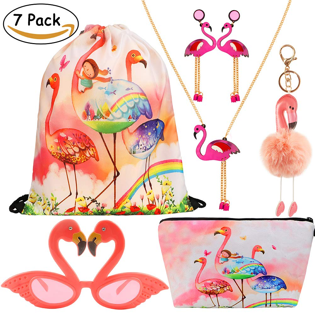 CoocleApril 7 Pack Girls Party Favors Gift Flamingo Bags Glasses Necklace Earring Coin Purse Keychain Birthday Party Gifts Pack for Kids Girls