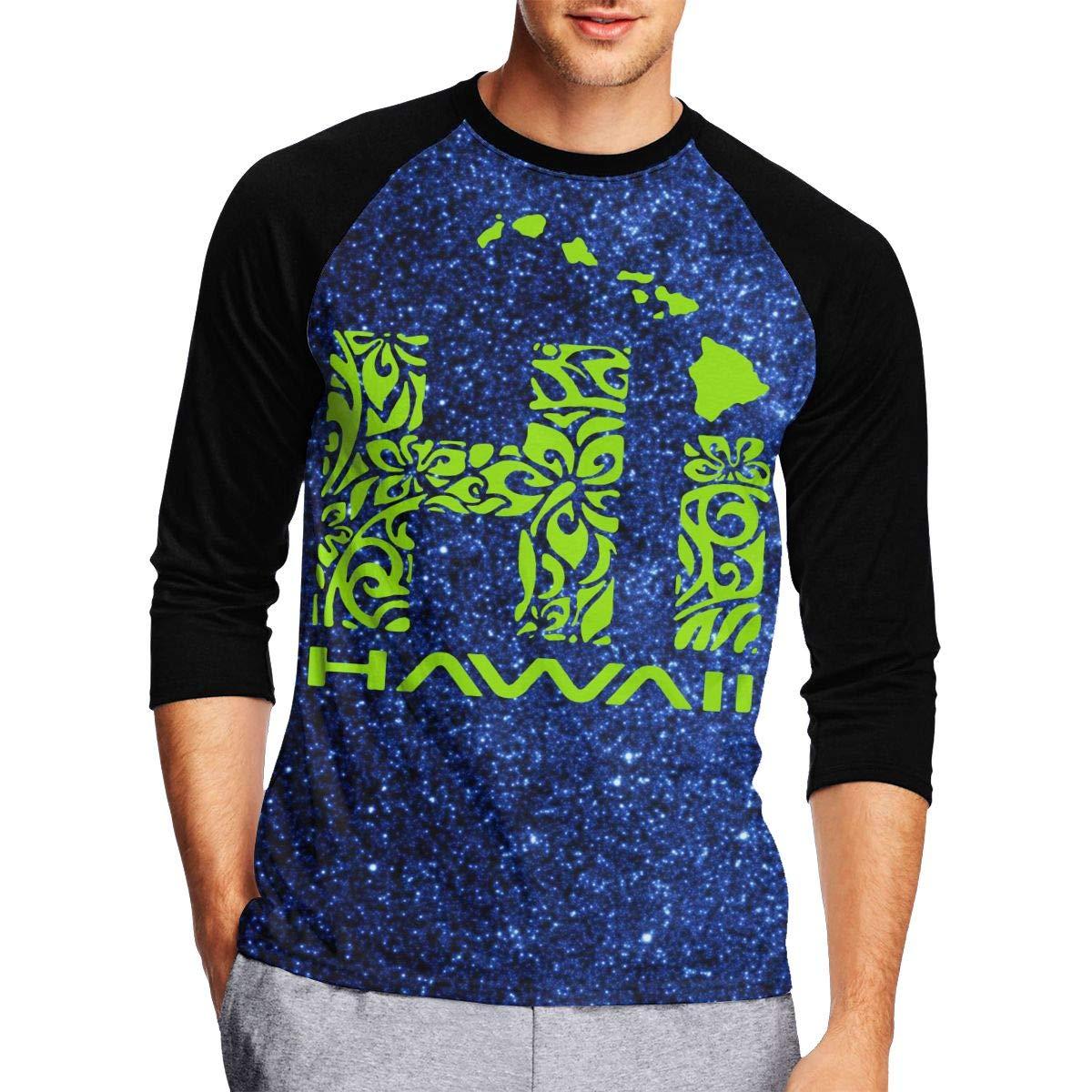DFGHJZH-L Hawaiian Islands Tribal Hi Hawaii Mens Cool Adult Long Sleeve T Shirts