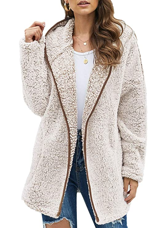 Dokotoo Womens Soft Female Fleece Oversized Open Front Long Sleeve Casual Solid Plain Fuzzy Fluffy Sherpa Hoodies Cardigans Coats Jackets Outerwear with Pocket Brown Large best women's faux sherpa jacket