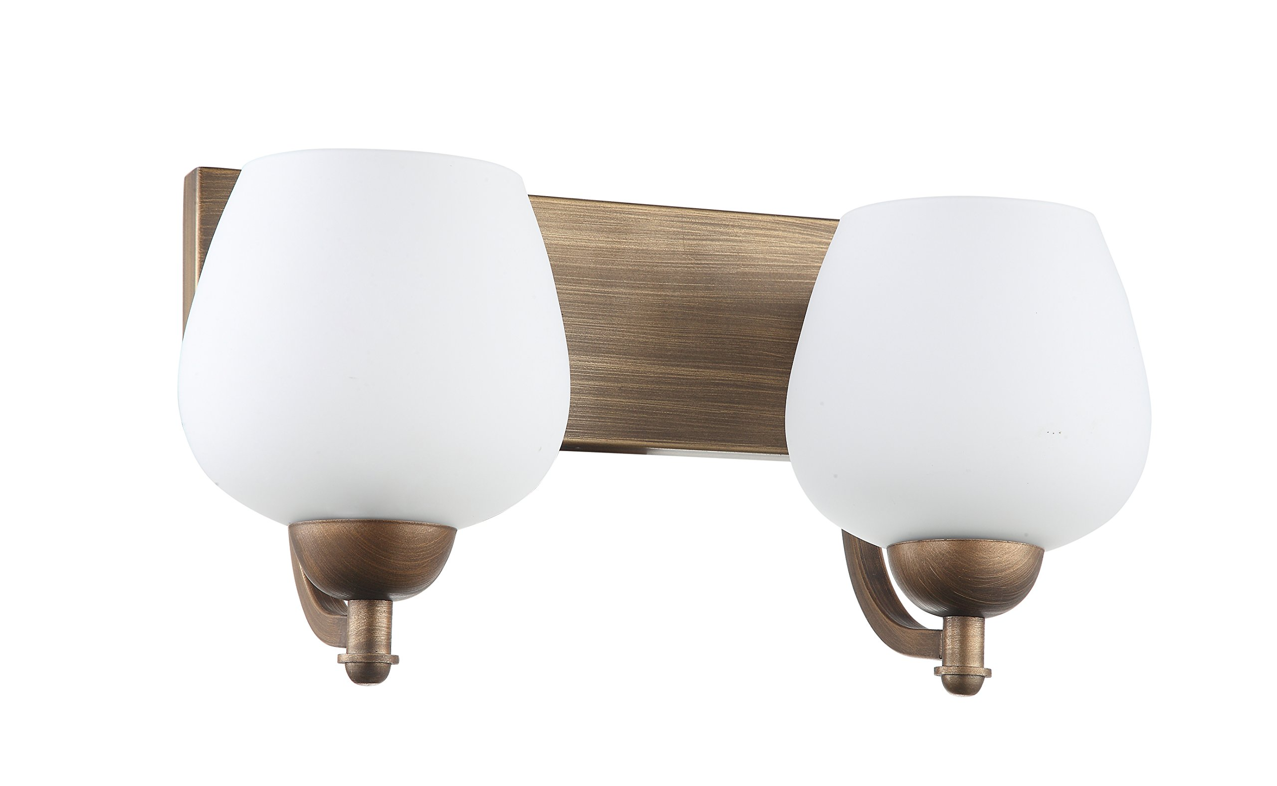 IN HOME 2-Light VANITY/BATHROOM FIXTURE VF29, Bronze Finish with Opal Glass Shade, UL listed