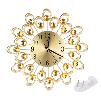 LoveOlvidoE Reloj de Pared Golden Luxury Diamond Peacock Relojes de Pared Grandes Batería de Metal Sin tictac Batería Decorativa Digital Sala de Estar: ...