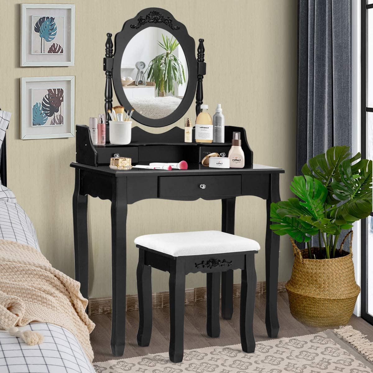 Giantex Vanity Table Set with Mirror and Stool for Bedroom Modern Wood Style Cushioned Bench Oval Mirrored Multifunctional Top Removable Writing Desk Dressing Tables for Girls, 3 Drawers Black
