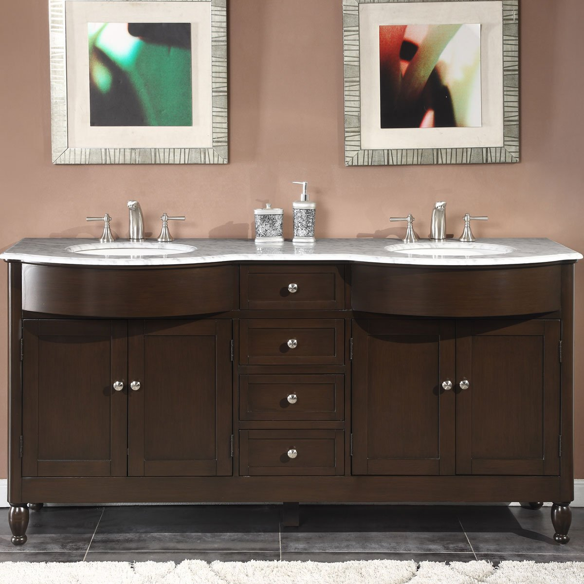 Silkroad Exclusive HYP-0717-WM-UWC-72 Marble Top Double Sink Bathroom Vanity with Dark Walnut Finish Cabinet, 72 , Dark Wood