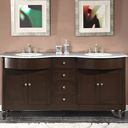 Silkroad Exclusive Marble Top Double Sink Bathroom Vanity With Dark Walnut  Finish Cabinet, 72
