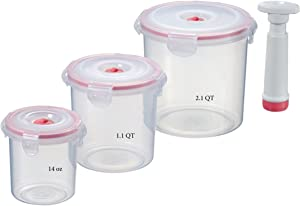 Lasting Freshness Vacuum Seal Food Storage Containers - Handheld Vacuum Food System - Quick Marinator - Cylinder Canister - 7Pc - Coral Color