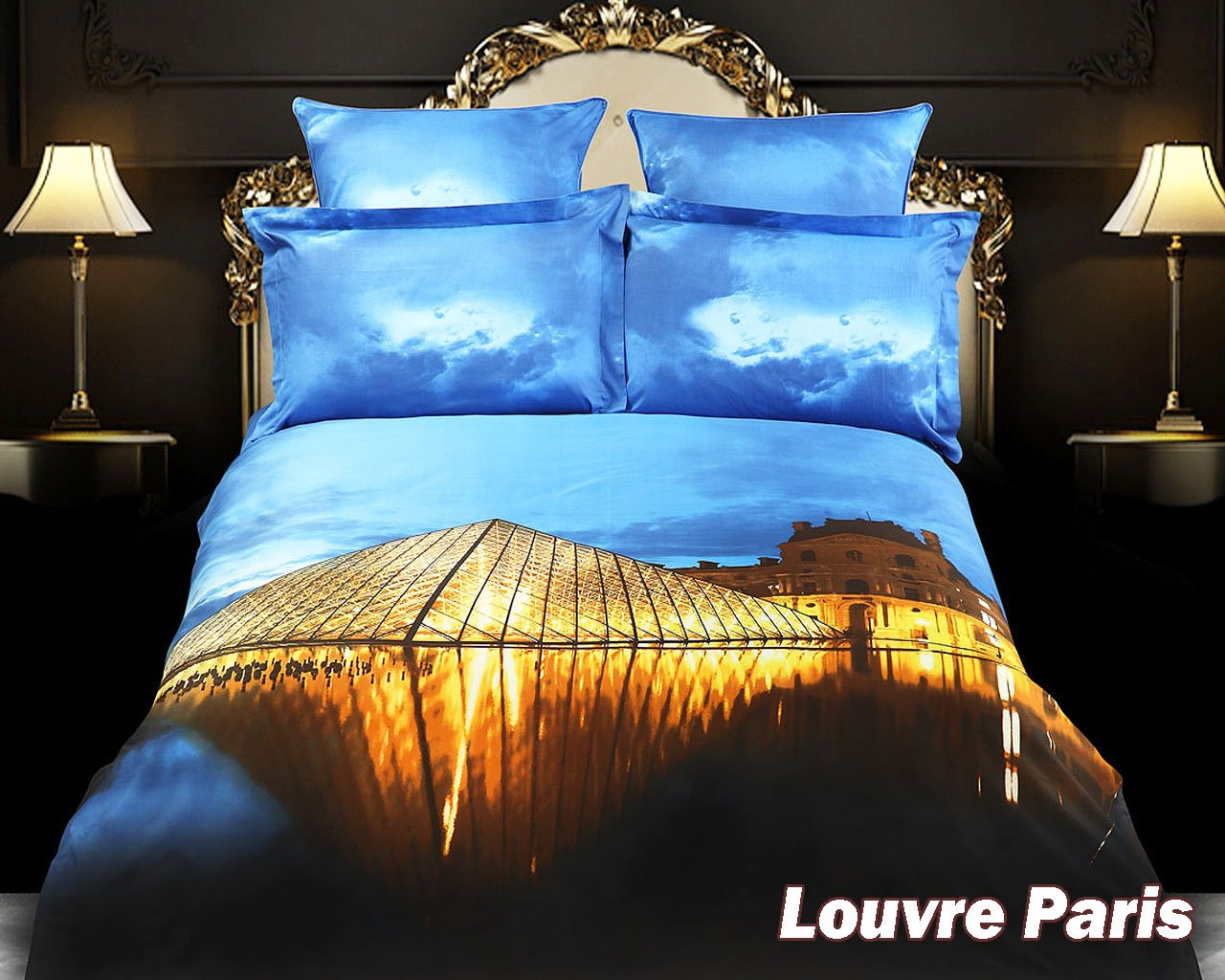 Louvre Paris, 6 PCs City Themed Bedding, King Size Egyptian Cotton Duvet Cover Set in Gift Box by Dolce Mela Fine Linens Bed in a Box, Bridal Shower, Birthday, Housewarming or Anniversary Gift Idea, DM430K