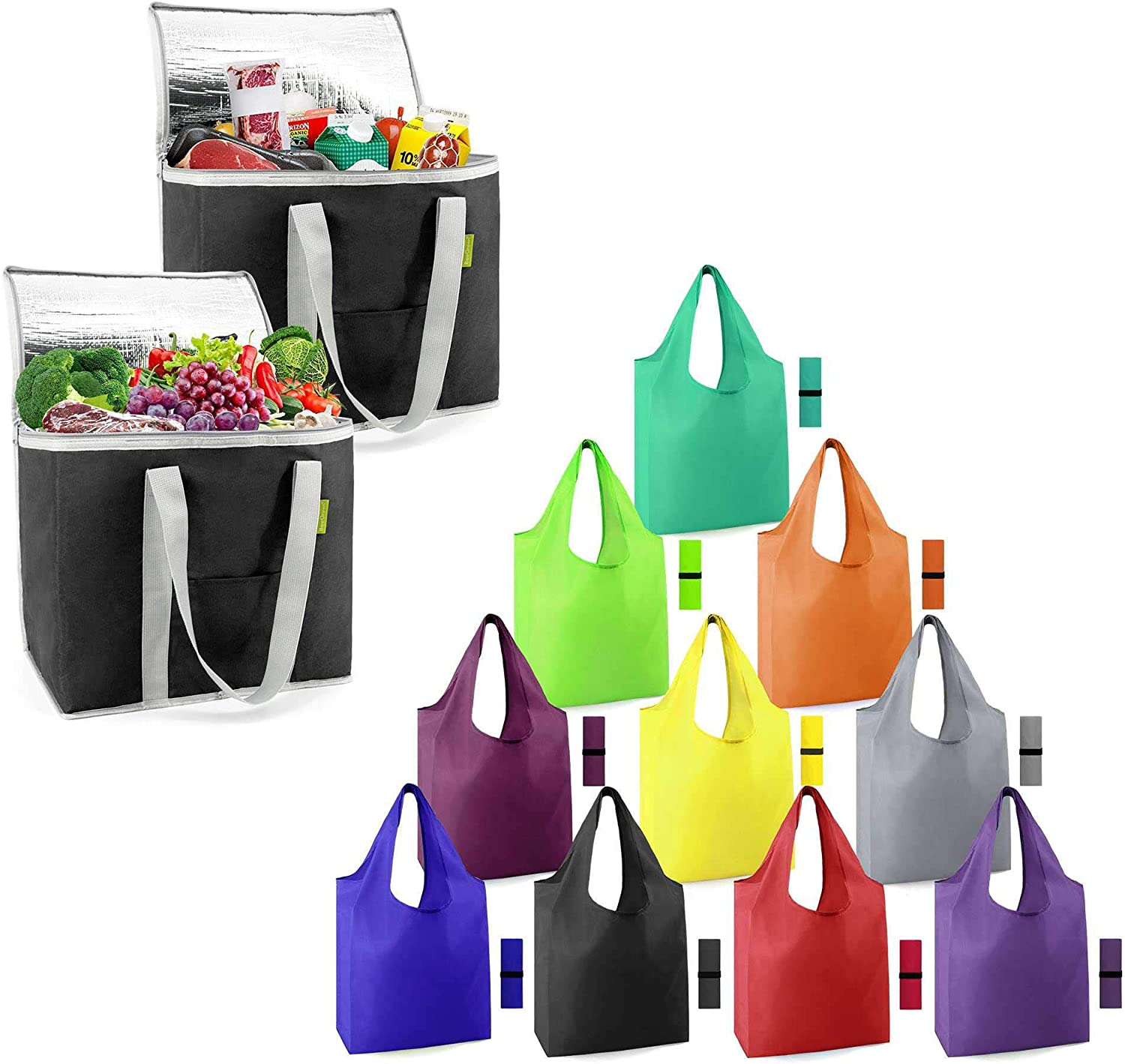 12 Pack Insulated Grocery Bags Shopping Cooler Thermal Tote for Hot Cold Frozen Food Transport X-Large 60LBS and Reusable Grocery Bags Colorful 50LBS Foldable Washable