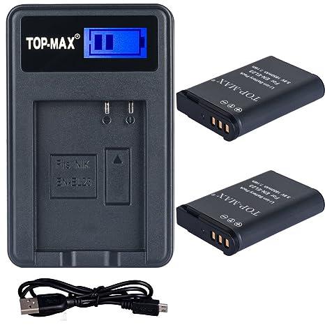 TOP-MAX® 2X EN-EL23 Batería de Li-Ion Recargable + Cargador ...