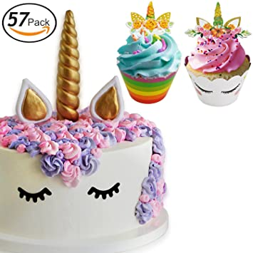 Unicorn Cake Topper Unicorn Cupcake Toppers And Wrappers Unicorn Party Supplies 57 Pieces