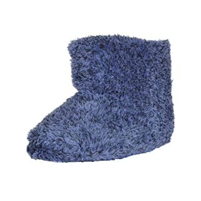 f30d03a81776d Mens Plush Bootie Slipper Boots Two Tone Fabric Cosy Soft Rubber Sole Blue  9/10
