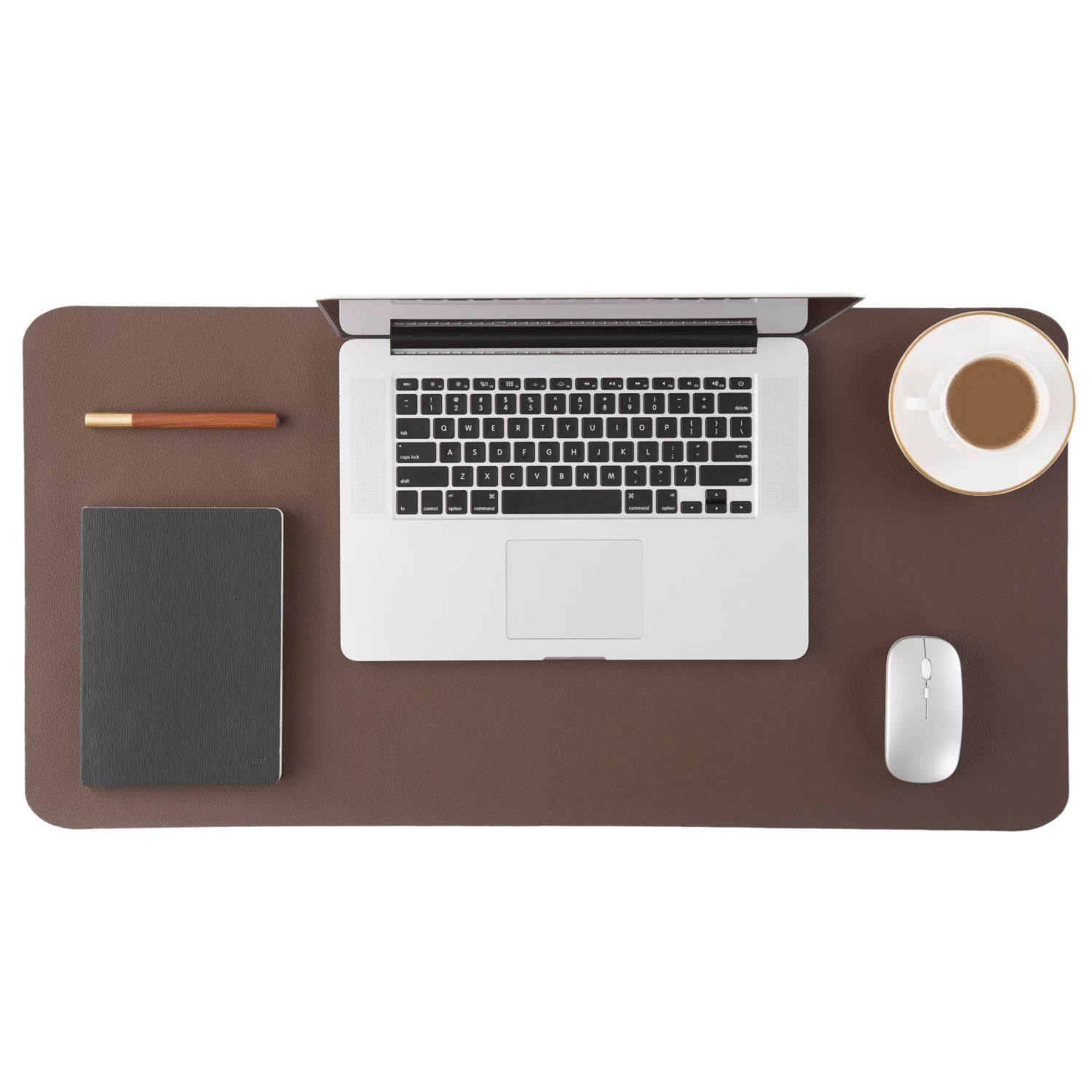 Homesure Genuine Leather Desk Pad, Office Desk Mat Blotter on top of desks, Large Computer Desk Mat, Waterproof Non Slip Desk Pad Protector for Office and Home (Brown, 17x35 inches)