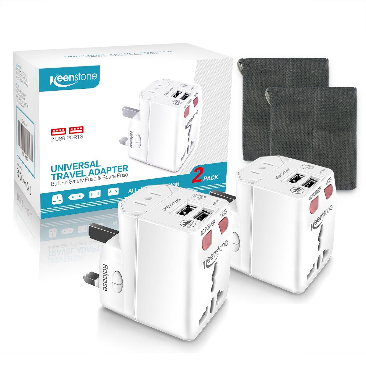 Keenstone 2PCS Adaptador Universal de Viaje, Adaptador de Enchufe Internacional con Dual USB Puertos para US EU UK AU, Indicador de LED Luz para Aclarar El Estado de Carga, Seguridad de Fusible Doble