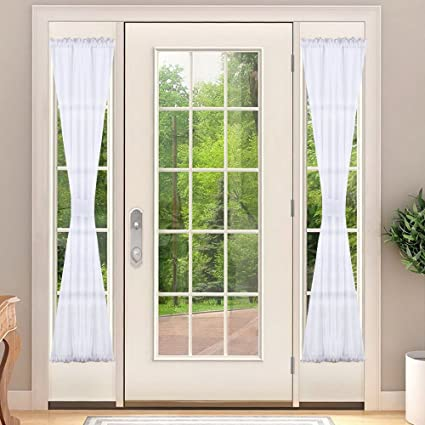 NICETOWN Sidelights French Door Voile Curtain Panel, Sidelight French Door  Blind Curtain With Bonus Tieback