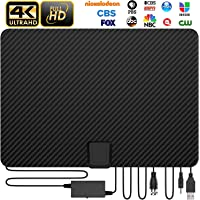 [Updated 2020 Version] Amplfied HD Digital TV an Tenna Long 180+ Miles Range with Powerful HDTV Signal Booster Support 4K 1080p Fire TV Stick and All Older TV's Indoor - Macrom olecule Perfomance