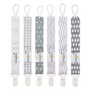 Babygoal Pacifier Clips for Boys, 6 Pack Pacifier Holder Fits Most Pacifier Styles &Teething Toys and Baby Shower Gift 6PS09