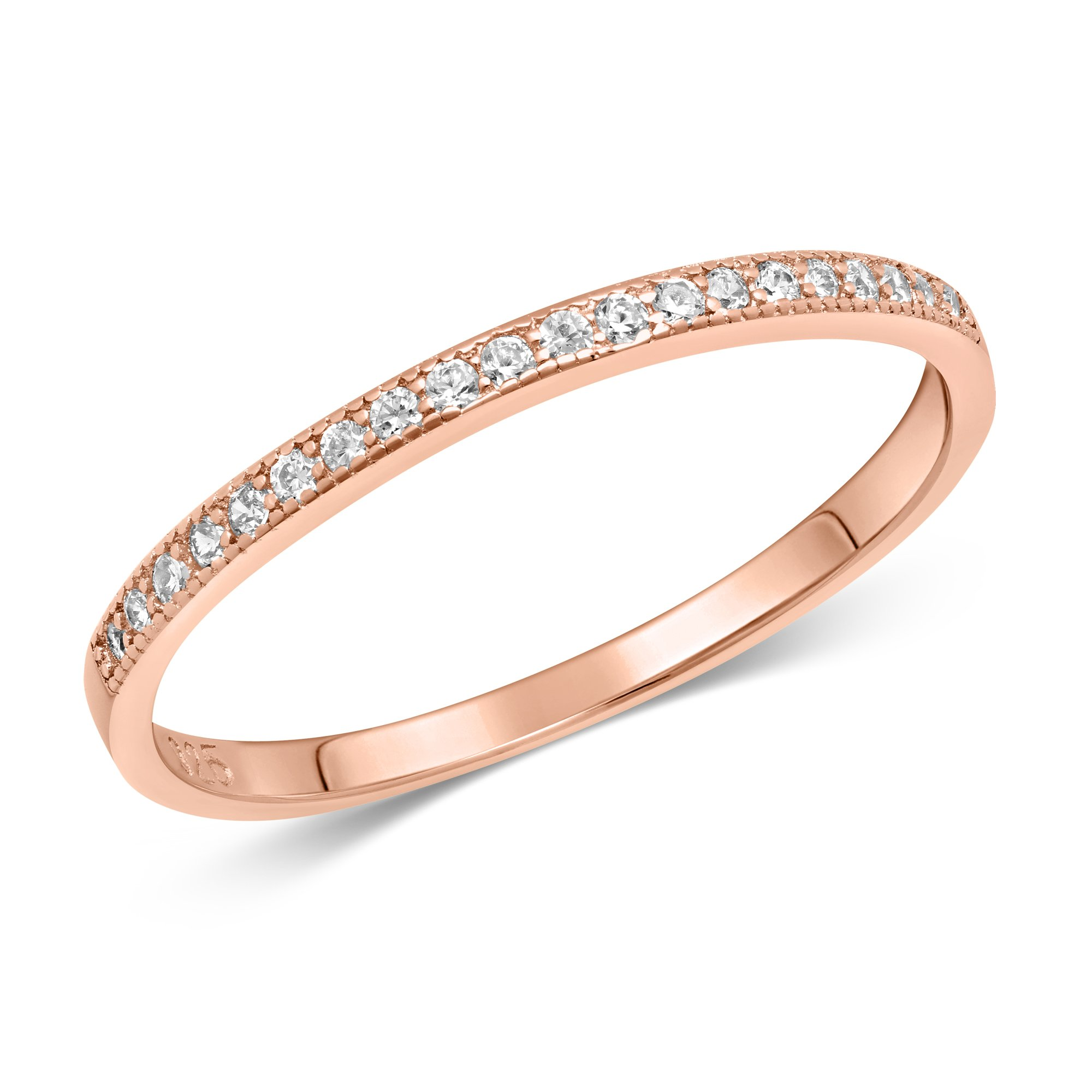 DTLA Sterling Silver Stackable Cubic Zirconia Half Eternity Band Ring - Rose Gold Plated - Size 7
