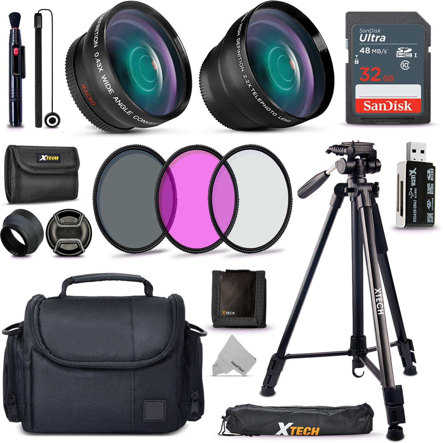 Xtech Accessory Kit for Canon Rebel T7, T7i, T6, T6i, T5, T5i SL1, SL2, SL3, EOS 70D, 77D, 80D DSLR Camera Includes 58mm Wide / 2X Telephoto Lens, Filters, Case, 72'' Tripod, Accessories Bundle + More by HeroFiber