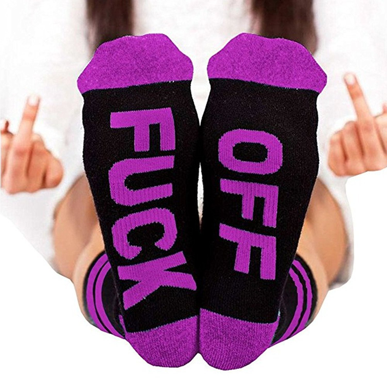 L&ZZ Unisex FUCK OFF Ribbed Knit Half Crew Socks Embroidery Swear Word Curse Printed Stockings