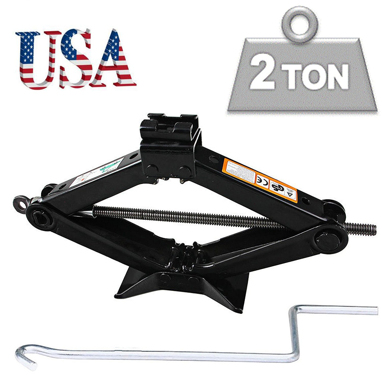 Rustproof Universal Scissor Jack 2 Tonne Wind Up Lifter Floor Jack Tyre Repair Tool with Crank Speed Handle for Car Van BMW/Ford/Audi