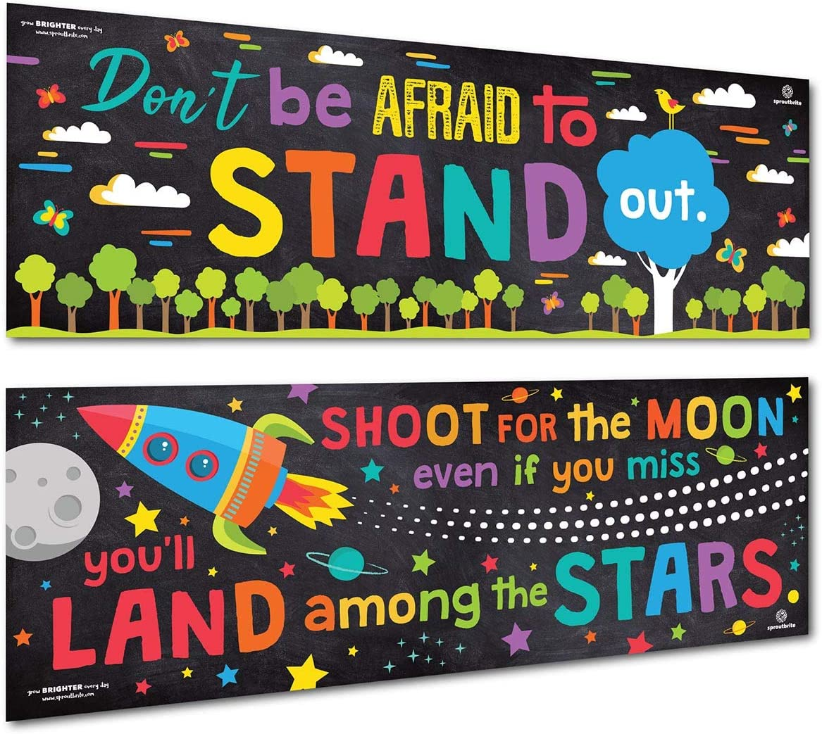 Sproutbrite Classroom Banner and Posters for Decorations - Educational, Motivational and Inspirational Growth Mindset for Teacher and Students