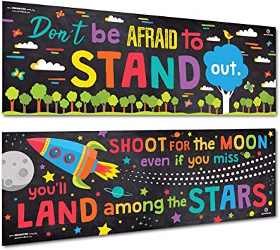 Educational Motivational and Inspirational Growth Mindset Poster Banner for Teachers and Students 2 Packs Classroom Banner Decorations