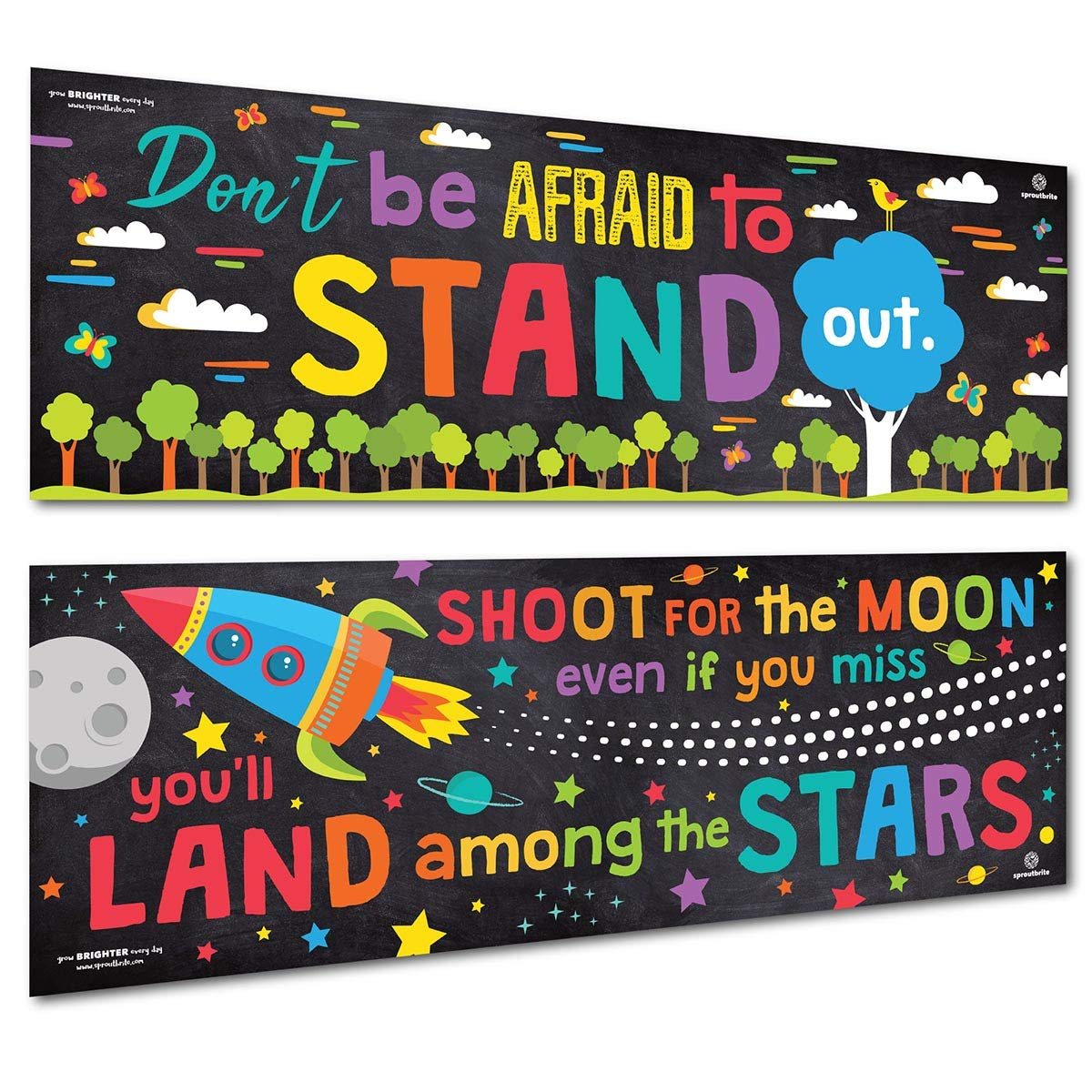 Sproutbrite Classroom Banner/Posters for Decorations - Motivational & Inspirational for Teacher, Students - 2 Poster Pack - 13'x39' Each Students - 2 Poster Pack - 13x39 Each