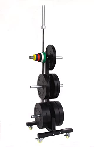 CFF Olympic 2 Bar Bumper Plate Tree for Weights – Mobile Weight Storage Rack w Wheels. Perfect for Any Commercial Gym, Fitness Training Center, or Home Gym
