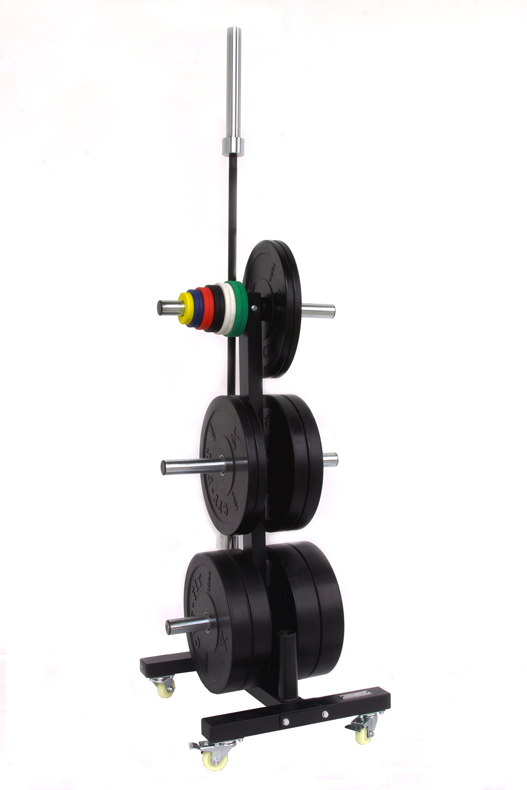 CFF Olympic 2 Bar & Bumper Plate Tree for Weights - Mobile Weight Storage rack w/wheels. Perfect for any commercial gym or fitness training center