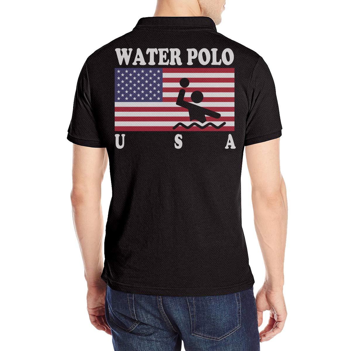 KH5GJ-25 Mens American Flag Water Polo Short Sleeves Polo T Shirt