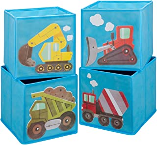 Ava & Kings Foldable Fabric Storage Cube Container Bins Shelf Drawers - Kids' Light Blue Construction Theme Toy Box Organizer for Boys Girls - Set of 4