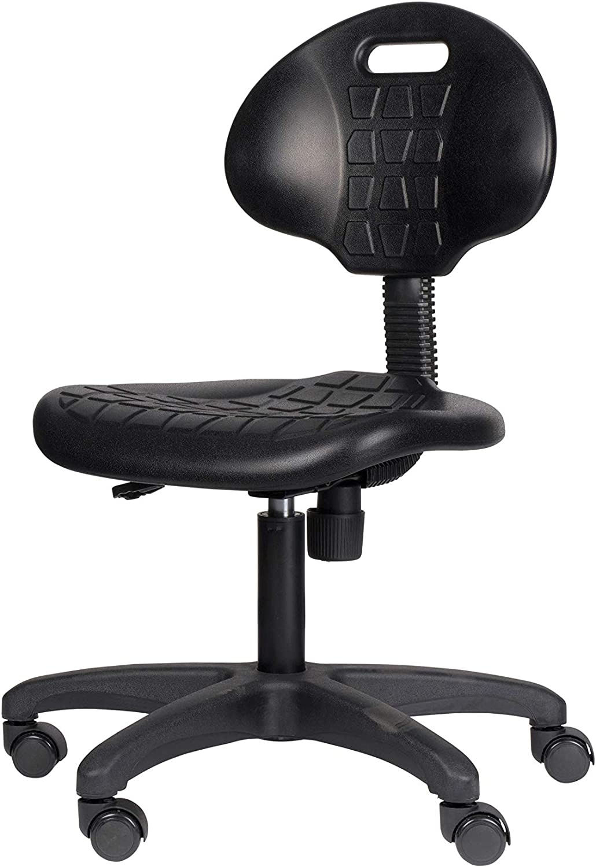 "OEF Furnishings Height Adjustable Polyurethane Task Chair, 16""-21"", Black"