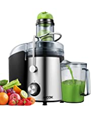 Juicer Juice Extractor Aicok 800W Juicer Machine 75MM Wide Mouth Stainless Steel Centrifugal Juicer, 2 Speed Setting Fruit Juicer for Whole Fruit and Vegetable,BPA-Free,Non-Slip Feet