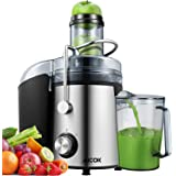 Aicok Juicer Juice Extractor, 800W Juicer Machine 75MM Wide Mouth for Whole Fruit and Vegetable, 2-Speed Setting Fruit Juicer, Stainless Steel Centrifugal Juicer, Easy to Clean, BPA-Free