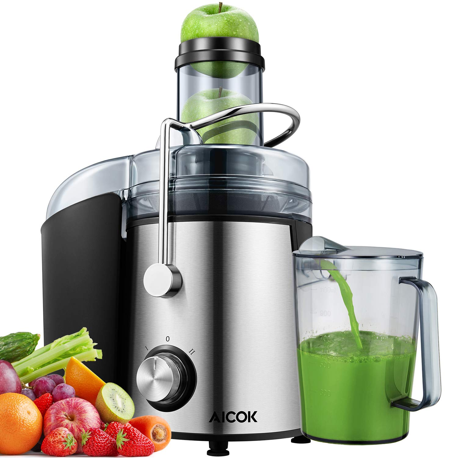Juicer 1000W Powerful Juice Extractor, Aicok 76MM Wide Mouth Centrifugal Juicer Machine for Whole Fruit and Vegetable, Dual Speed Setting, Anti-drip Function, BPA Free