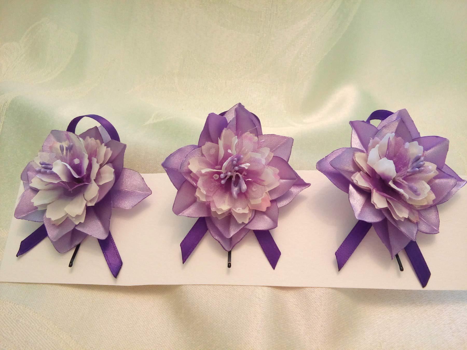 Bobby Pins Hair Purple White Set of 3 flower Wedding hair flowers