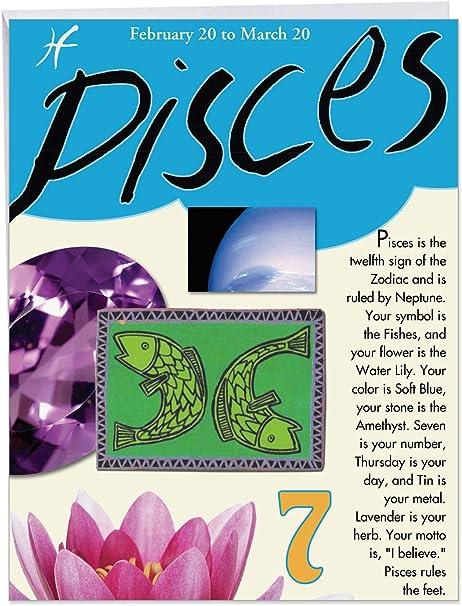 Amazon.com: j9441 Piscis signo tarjeta de cumpleaños – gente ...