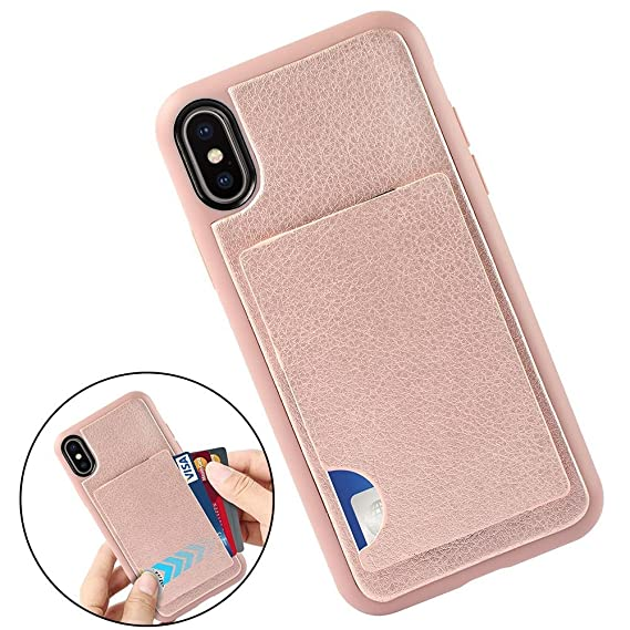 official photos 2d304 2cb8c iPhone Xs Wallet Case, iPhone X Case with Card Holder, ZVEdeng Shockproof  iPhone X Wallet Credit Card Grip Cover Card Clip Leather Hybrid Case for ...